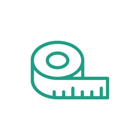 measuring tape icon, green outline