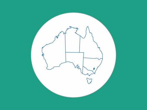 green background, white circle with a map of Australia in the centre highlighting ACT