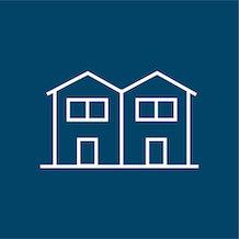 icon of a duplex or villa, white outline, blue background