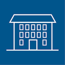 icon of a boarding house, white outline, blue background