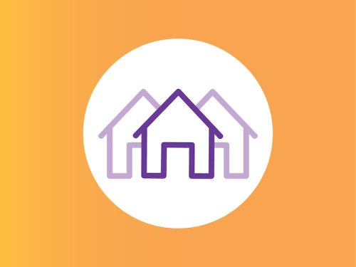 yellow background, three house icons with purple outline in a white circle