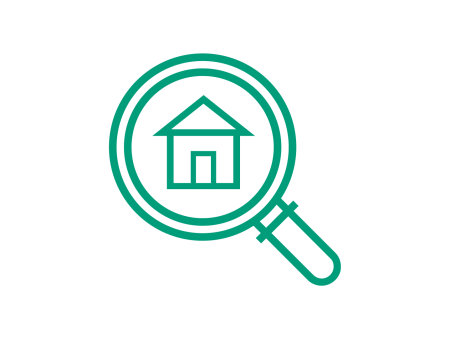 Housing Seeker icon, house in a magnifying glass, on a green background