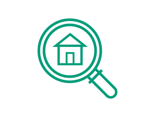 Housing seeker icon; search icon with a house icon in the circle, image is green on a white background