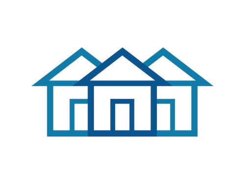 three house icons, one dark blue and two light blue on a white background