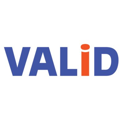 text VAILID in blue with a orange letter i