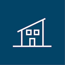 icon of a granny flat, white outline, blue background