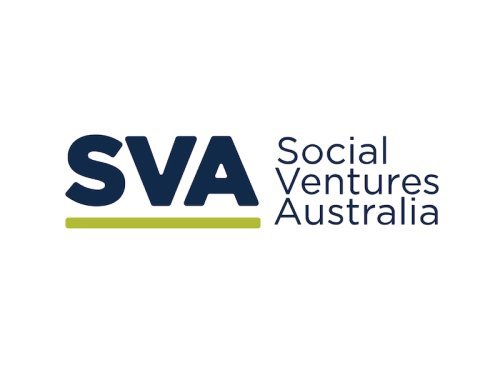 SVA logo, letters SVA in dark blue with a green line underneath, stacked text Social Ventures Australia also in dark blue