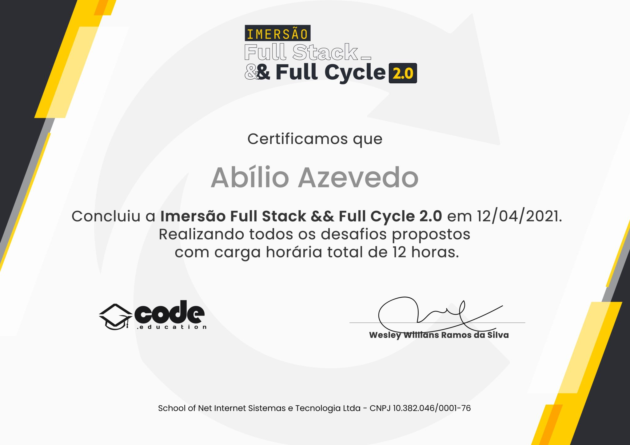 Cover Image for Full Stack & Full Cycle Immersion 2.0