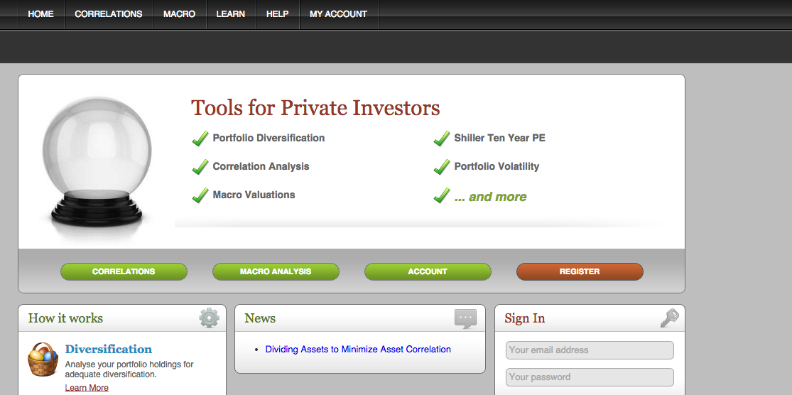 Asset Correlation Homepage