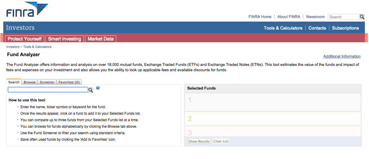 Finra Fund Analyzer Homepage