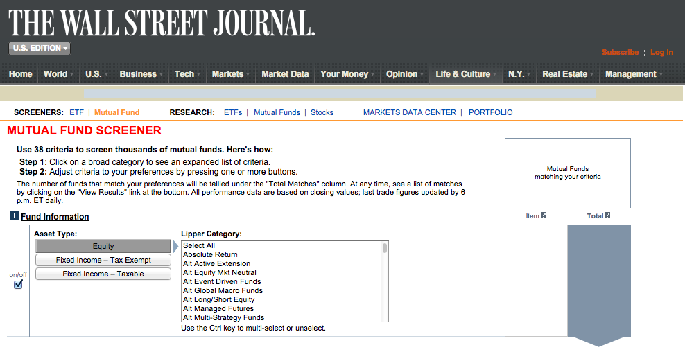 WSJ Mutual Fund Screener