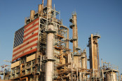 Oil refinery with American flag on side