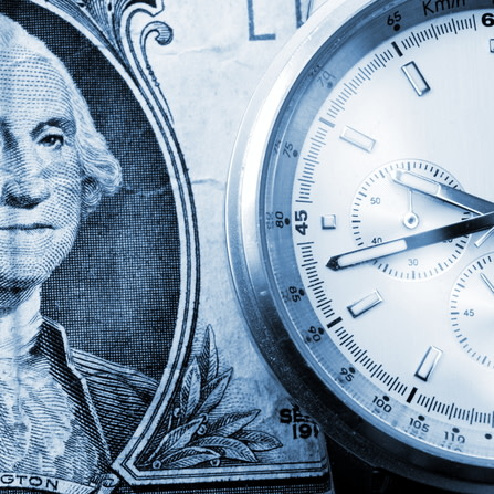 Bond image with dollar and clock