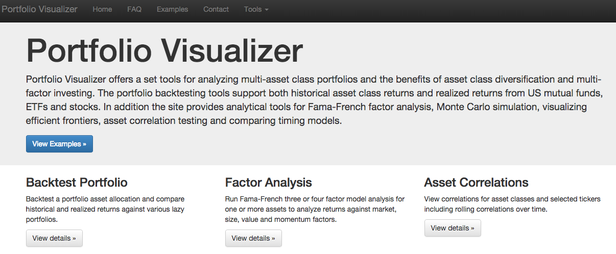 Portfolio Visualizer Homepage
