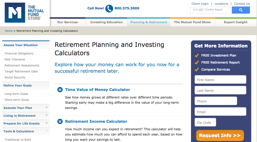 Mutual Fund Store Retirement Calculator