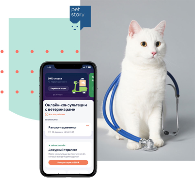 White cat with statoscope sitting next to Pet Story smartphone app.