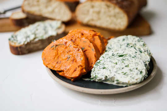 Vegan herb butter and tomato butter