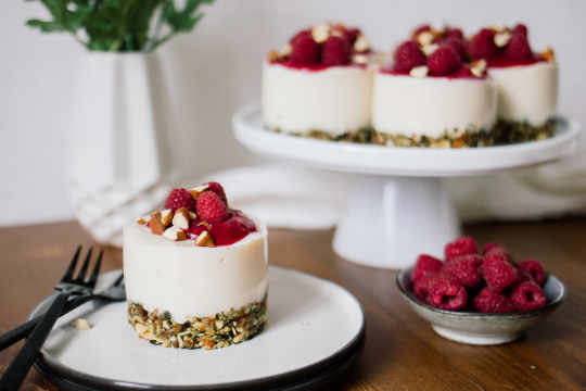 Vegan No-Bake Raspberry Yogurt Cakes