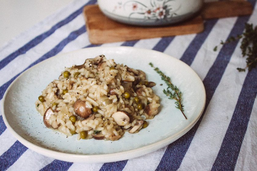 R146 Cremiges veganes Pilz-Risotto