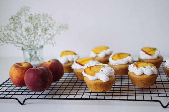 Vegan Stuffed Peach Cupcakes