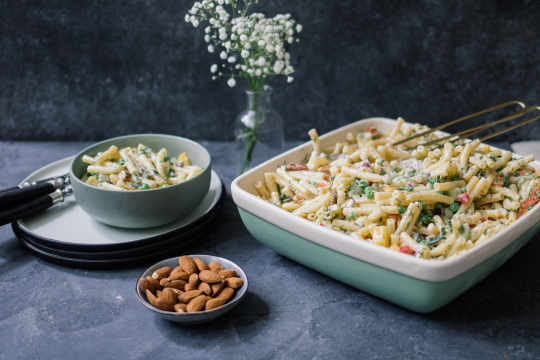 Vegan macaroni salad with almond dressing