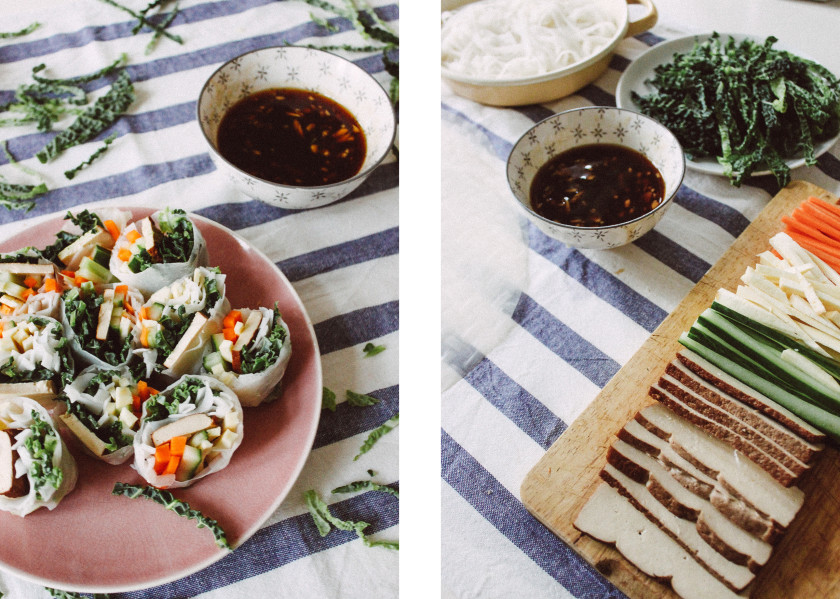 R118 Vegan winter rolls with quince dip