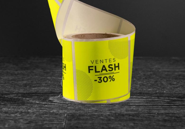 etiquette rouleau fluo jaune