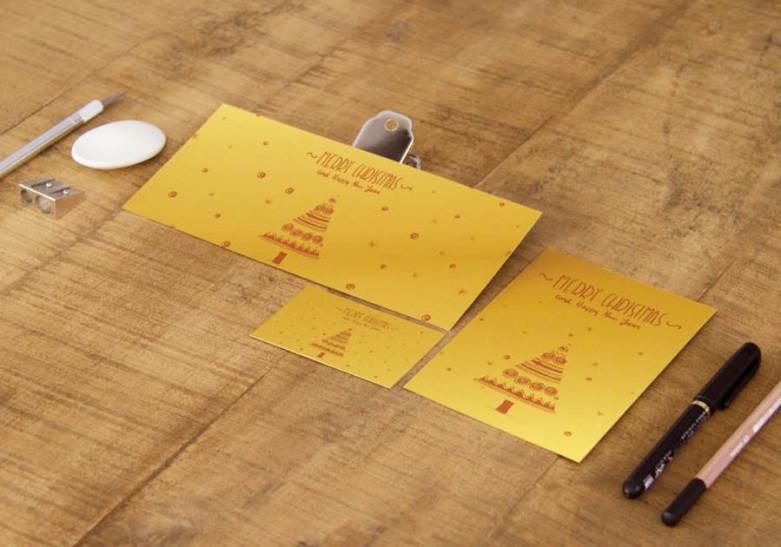 Carte Papier metallise or