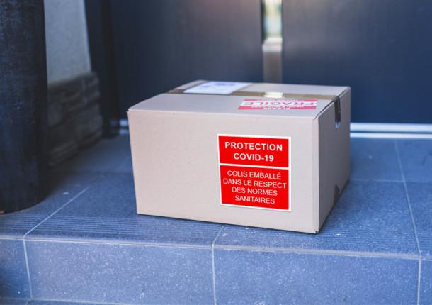 Covid Étiquette sur emballage