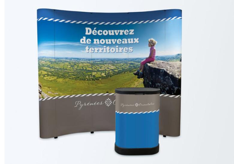 Salon Evenement - Kit 3 - Stand parapluie papier courbe et comptoir