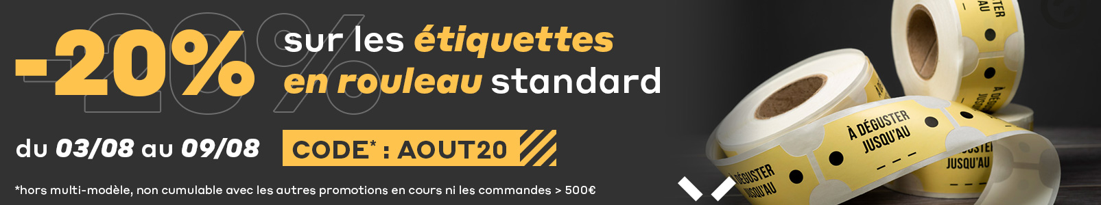 -20% sur les étiquettes en rouleau standard sur exaprint.fr