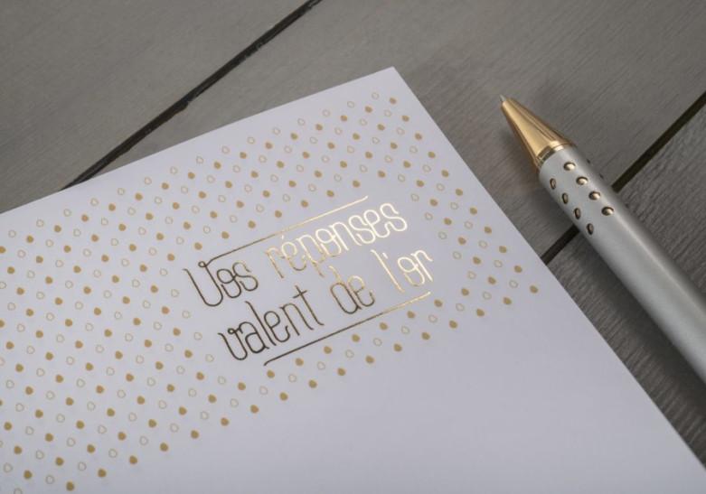 Papeterie Tete de lettre dore