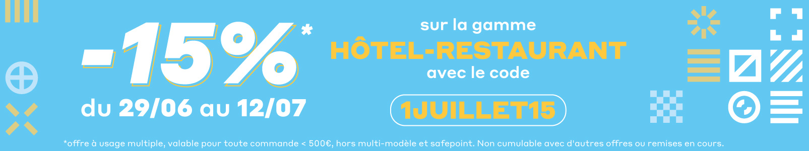 15% de remise sur les produits d'impression personnalisable de la gamme hôtel - restaurant