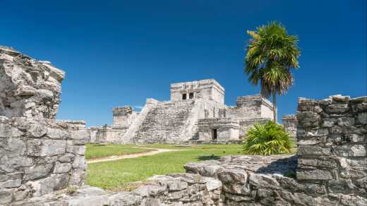 View of the Maya ruin El Castillo in Tulum Mexico
