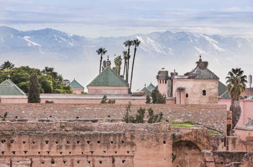 View over the old town of Marrakech with the Atlas Mountains in the background.