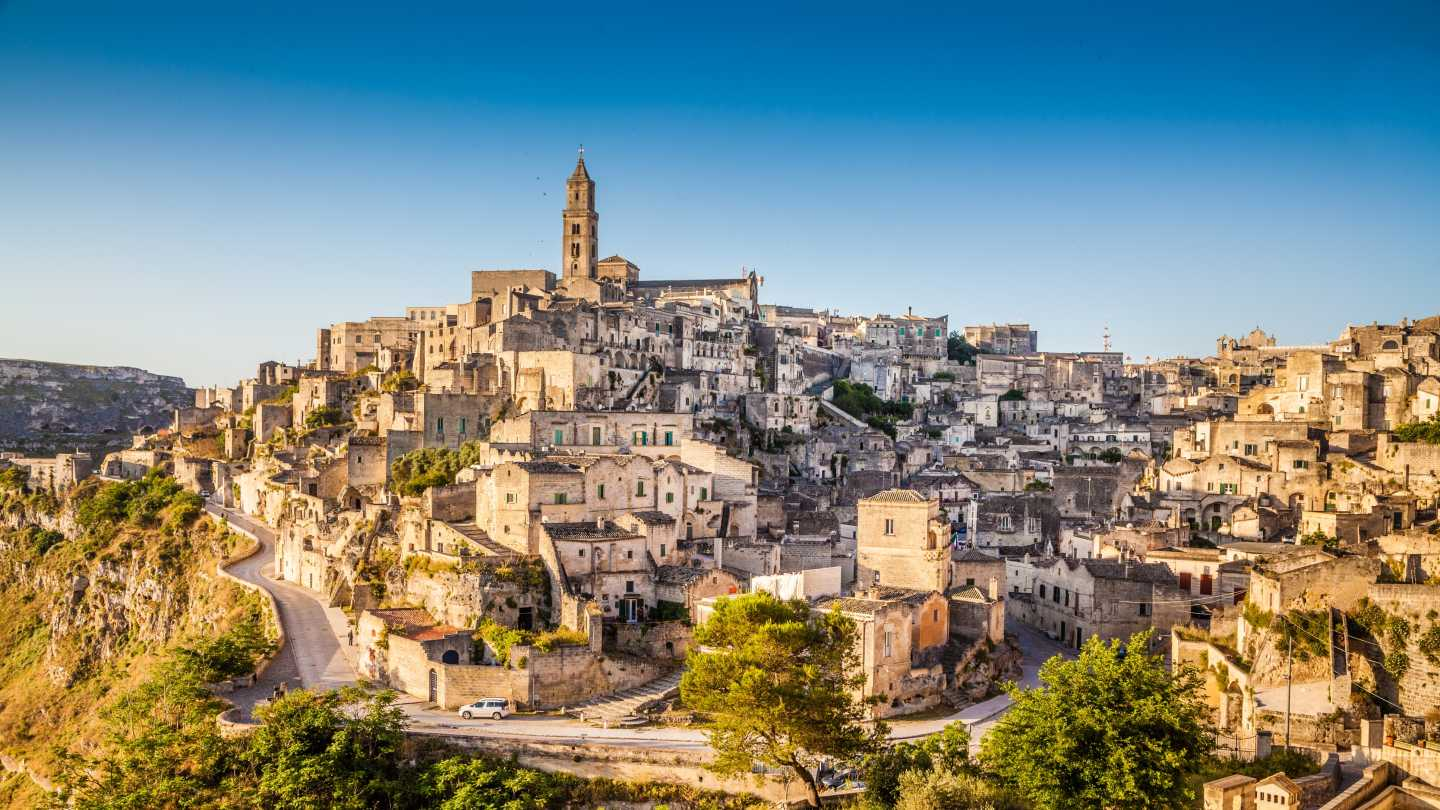 See the beautiful skyline of Matera on tour of Puglia