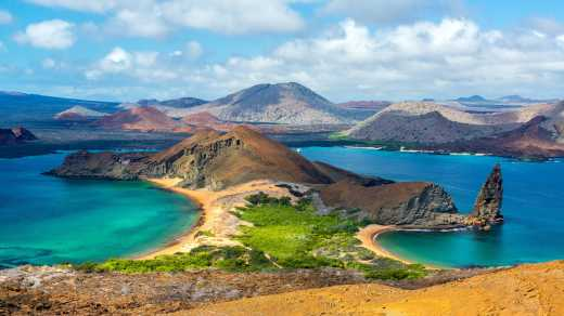 Visit the Galapagos Islands, here pictured from above, on a highlights of Ecuador tour