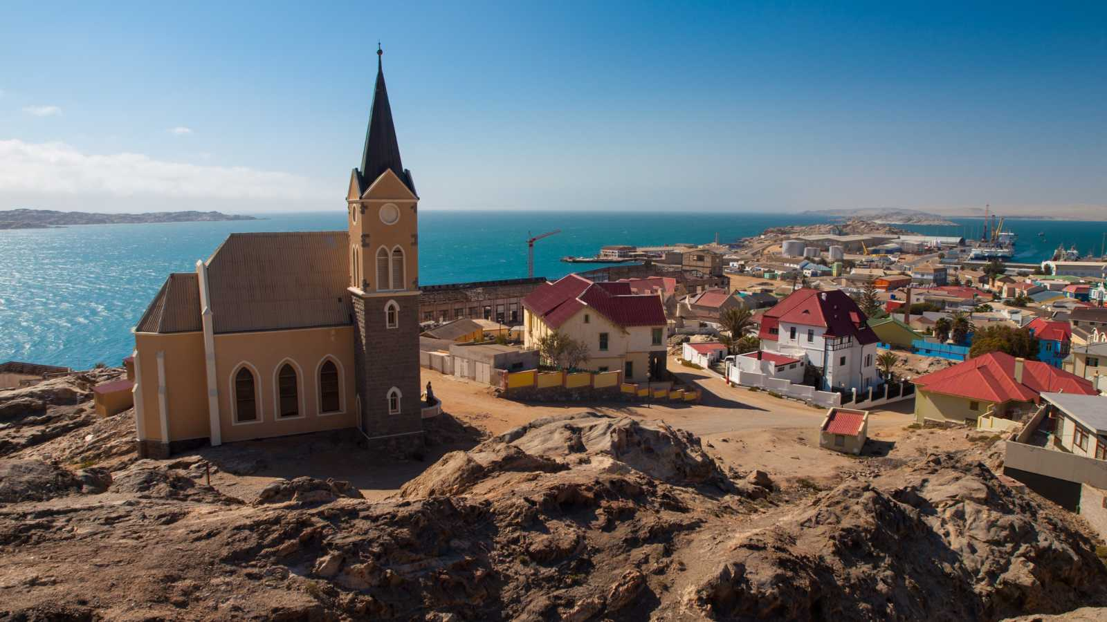 Views of a church in Lüderitz, Namibia