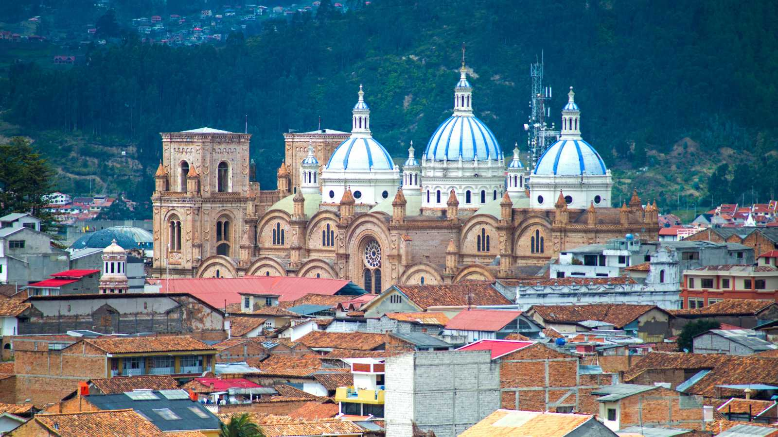 Visit the beautiful cathedral of Cuenca, pictured here from above, on a Cuenca vacation
