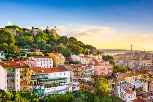 Discover the beautiful hills and skyline of Lisbon, pictured here, on a tailor-made Lisbon vacation