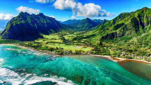 Coast and mountain landscape of Hawaii in North America
