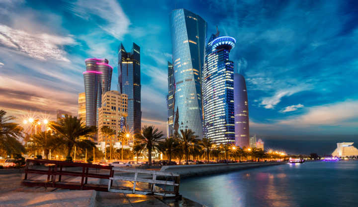 Admire the skyline of Doha, pictured here, on a tour of the Middle East