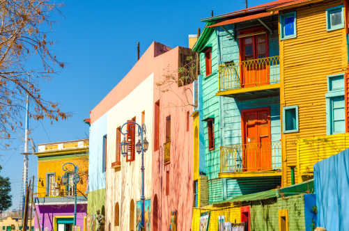 South America, Argentina, colorful houses of the La Boca neighborhood.