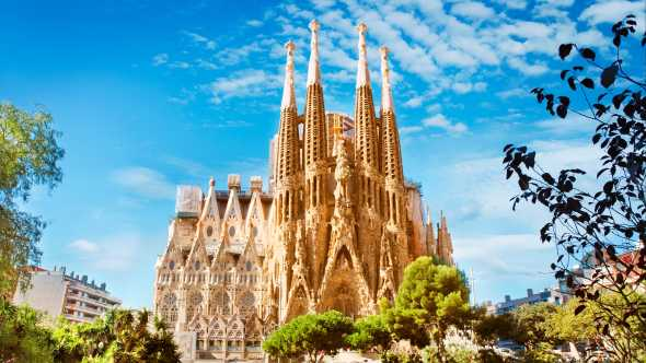 Discover the incredible Sagrada Familia cathedral, pictured here, on a Barcelona vacation
