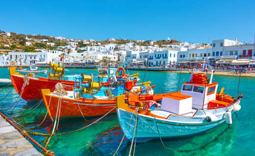 View of boats in the harbor in Mykonos, Greece