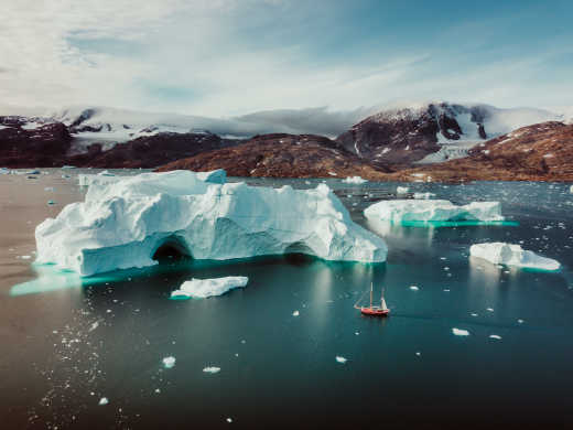 View of the icebergs off Greenland
