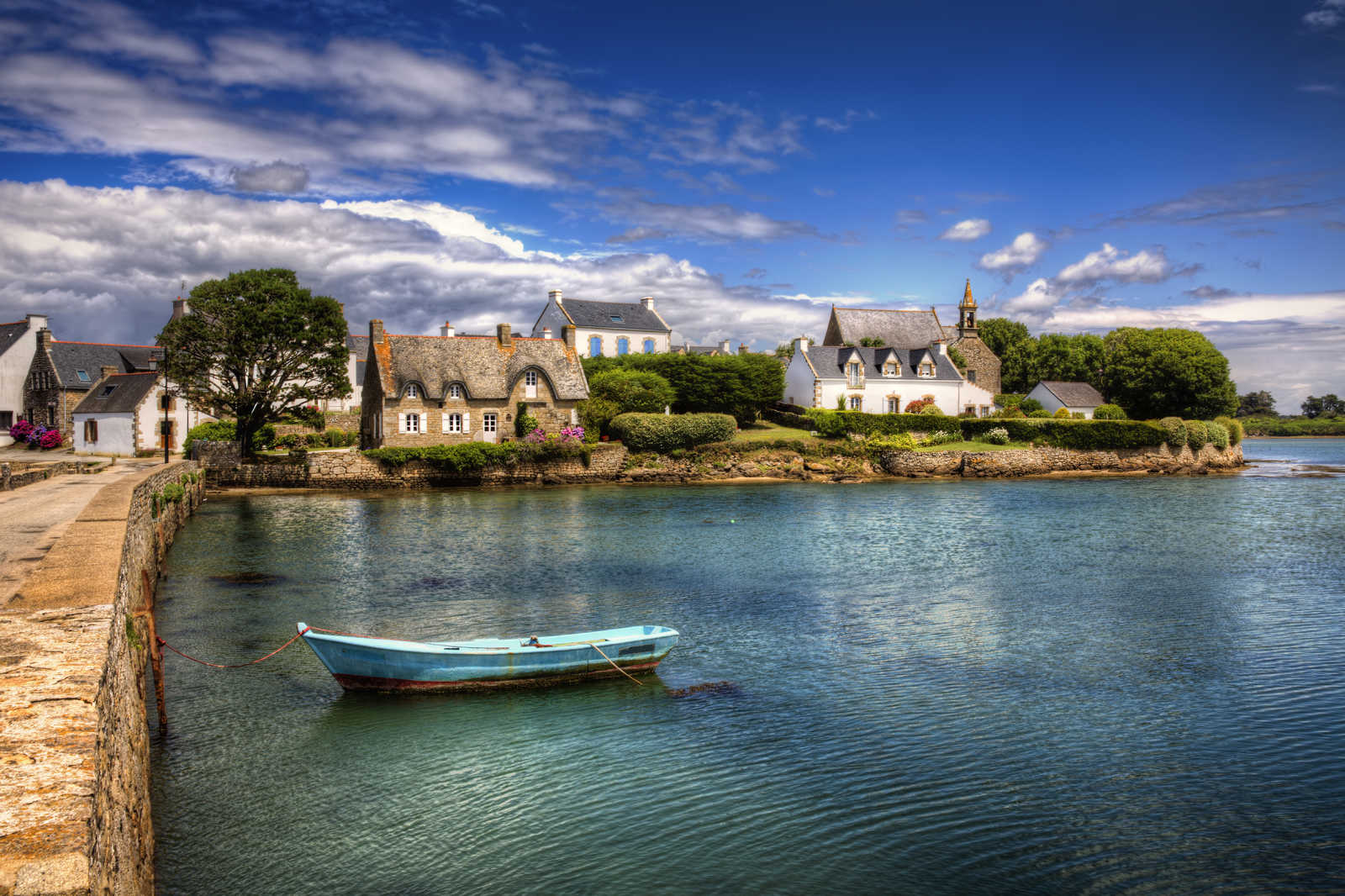 View of the fishing village Saint-Cado in the Bretagne in France