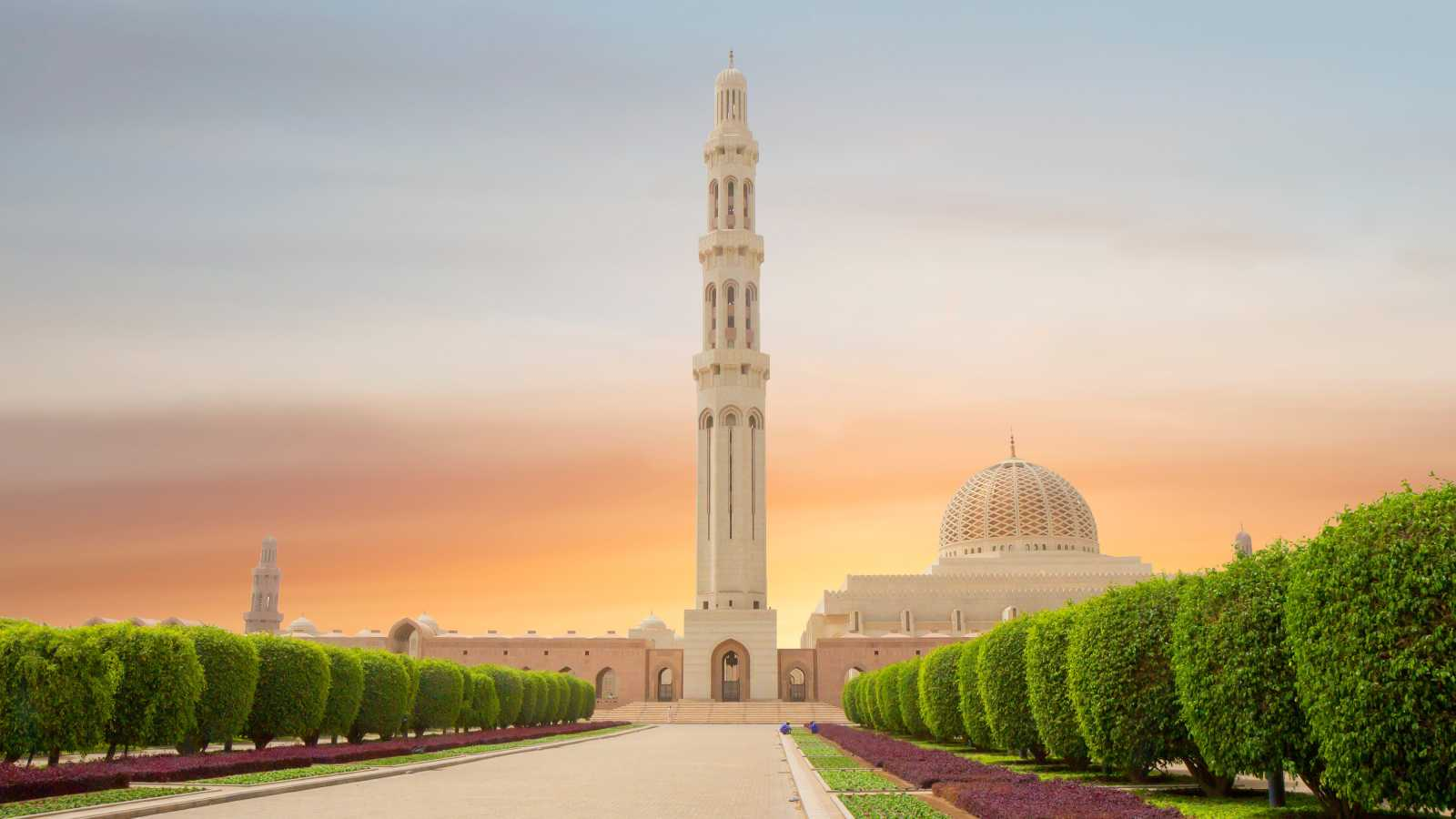 View of the Sultan Qaboos Mosque in Muscat Oman