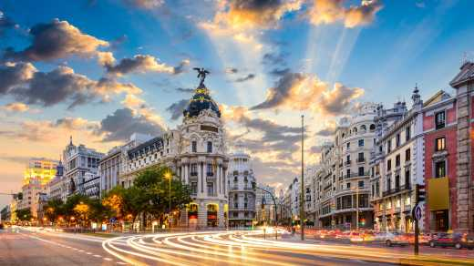 Visit the beautiful streets of Madrid, pictured here, on a Madrid vacation
