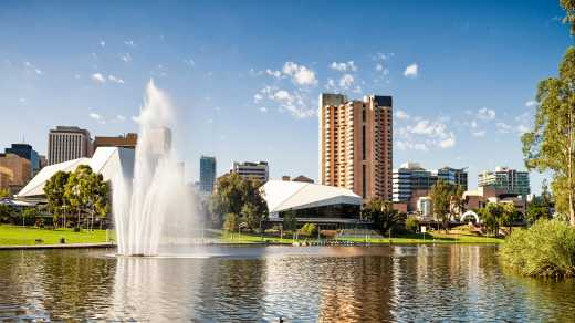 Australia Adelaide fountain with skyline
